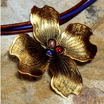 Dogwood Flower Brass Necklace | Elaine Coyne Jewelry