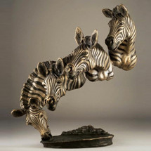 "Zebra Bronze Sculpture ""Bank of the Mara"" 