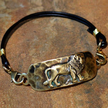 Lion Antiqued Brass Rockband Bracelet | Elaine Coyne Jewelry