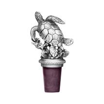Sea Turtle Bottle Stopper   Heritage Pewter   BS8516