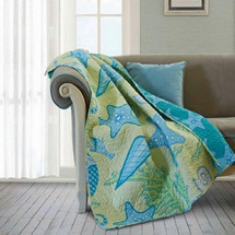 Starfish and Shell Quilted Throw Blanket | DQT507
