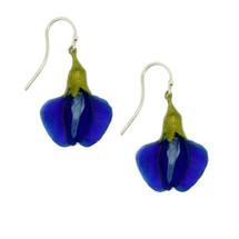 False Indigo Glass Blossom Wire Earrings | Michael Michaud Jewelry | 3154BZ