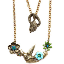 Hummingbird and Floral  Necklace  | La Contessa Jewelry | NK9422GB