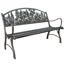 Wildflowers Cast Iron Garden Bench | Painted Sky | PB-WFL-100BR