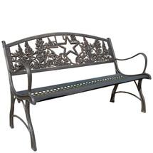 Texas Bluebonnet Cast Iron Garden Bench | Painted Sky | PB-TX-100BR