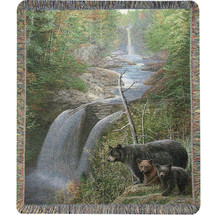Bear and Cubs Tapestry Throw Blanket | Manual Woodworkers | ATAMST