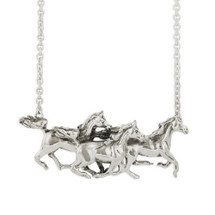 Horse Trio Pendant Sterling Silver Necklace   Kabana   R-SP155