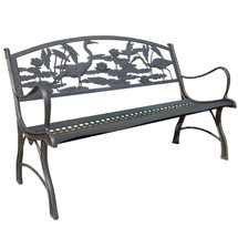 Heron Cast Iron Garden Bench | Painted Sky | PB-HER-100BR