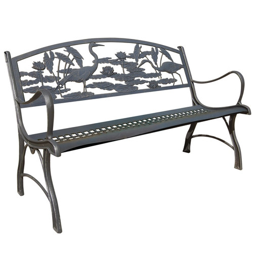 Heron Bench Cast Iron Outdoor Bench Painted Sky