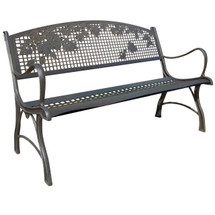 Leaves Cast Iron Garden Bench | Painted Sky | PB-LV-100BR