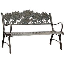 Sunflower Cast Iron Garden Bench | Painted Sky | PB-SFL-100BR