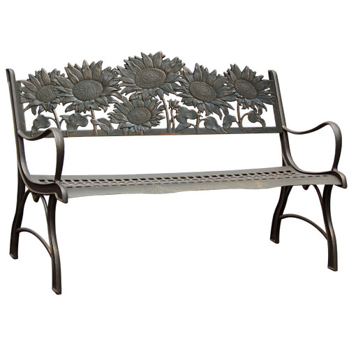 Sunflower Bench Cast Iron Outdoor Bench Painted Sky