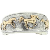 Running Horses 14K Yellow Gold Sterling Silver Bracelet   Kabana Jewelry   KGSBR164