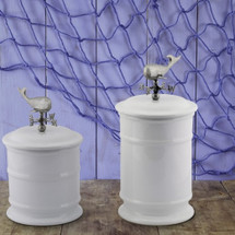 Whale Weathervane Stoneware Canister Set of 2 | Vagabond House | O273WW-O263WW-1