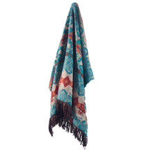 """Southwest Chenille Throw """"Turquoise Chamarro"""" 
