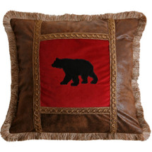 Bear Faux Leather Throw Pillow | Carstens | JB4003