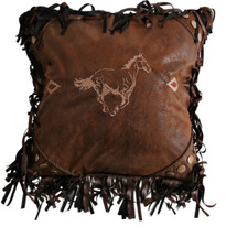 Horse Faux Leather Throw Pillow | Carstens | JB4027