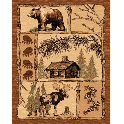 Cabin Lodge Area Rug Bear Moose American Cover