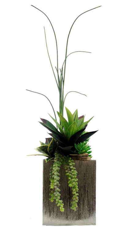 Faux Succulents In Tall Ceramic Planter