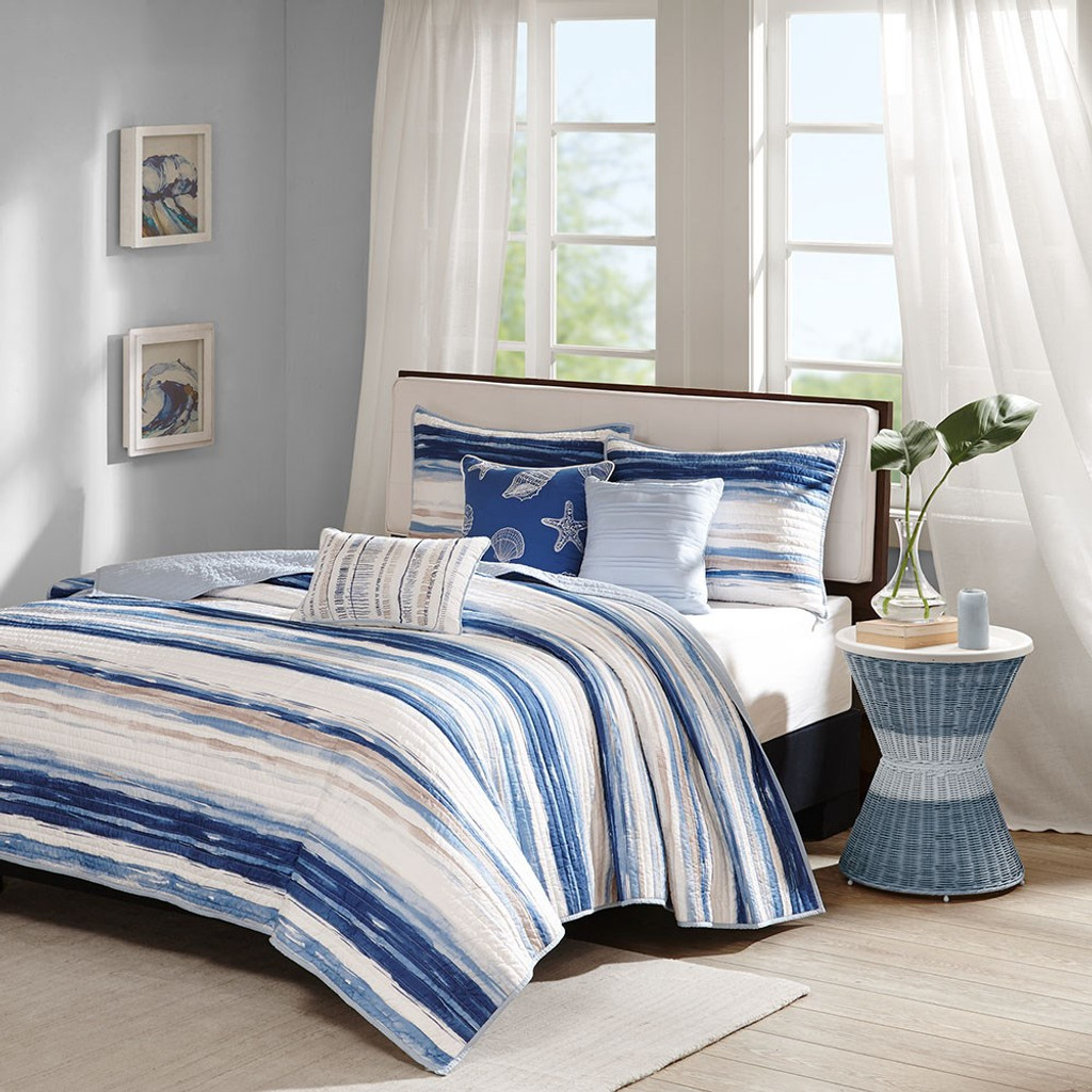 Marina Watercolor Striped Coverlet Set - King Size