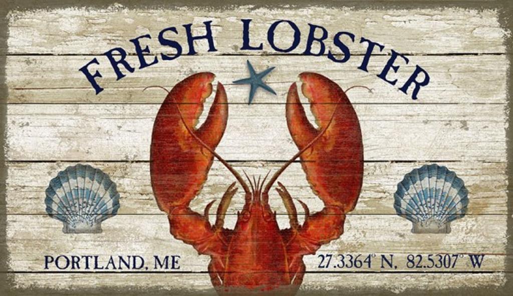 Fresh Lobster Coastal Sign - Custom