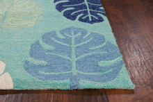 Turquoise Palms Area Rug close up