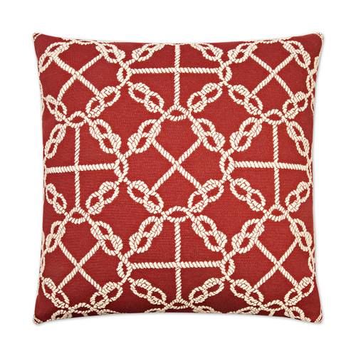 Circle Knots Luxury Nautical Pillow - Red
