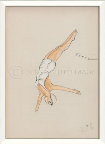 Diver In White Framed Wall Art