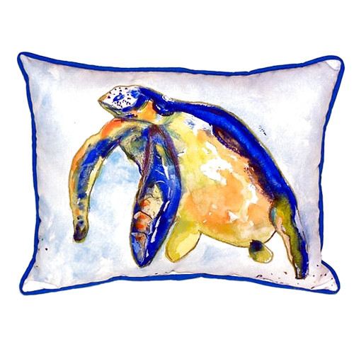 Swimming Blue Sea Turtle Pillow