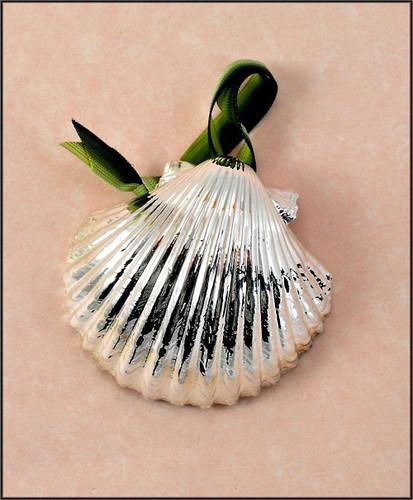 Silver Scallop-Pectin Shell Ornament