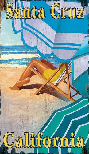 Striped Beach Umbrellas Art Sign