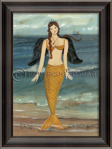 Golden Mermaid Angel Art