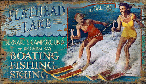 Ski Flathead Lake Art Sign - Custom