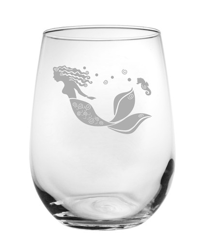 Mermaid Etched Wine Tumbler - Set of 4