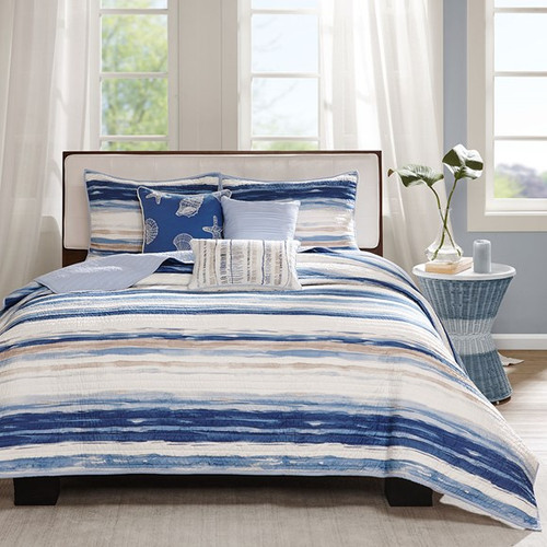 Marina Watercolor Striped Coverlet Set - Queen Size