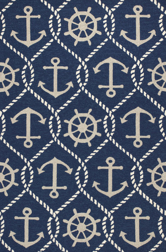 Navy Blue Rope and Anchor Marina Area Rug
