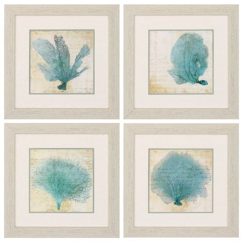 Blue Coral Prints - Set of 4