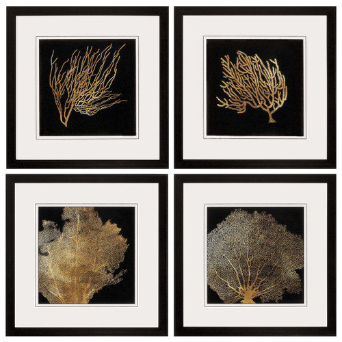 Gold Coral Framed Prints - Set of 4