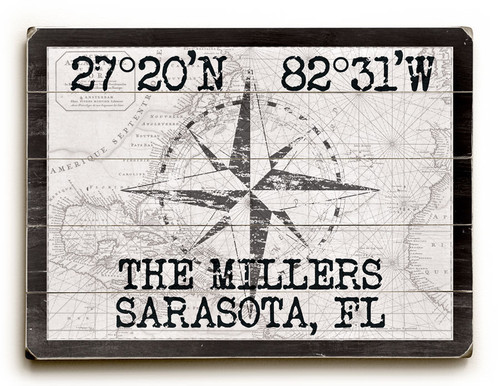 Custom Latitude Nautical Sign - White Vintage Chart