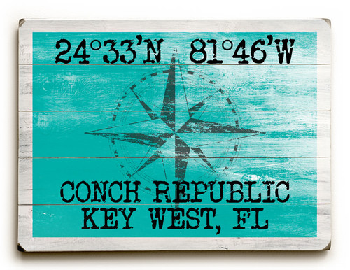 Custom Latitude-Longitude Beach Sign - Sea Green