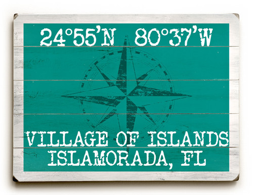 Custom Latitude-Longitude Beach Sign - Aqua