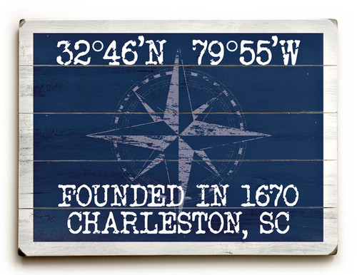 Custom Latitude Beach Sign - Navy