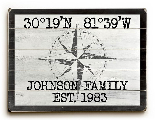 Custom Latitude-Longitude Beach Sign - White