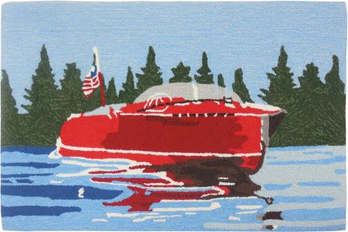 Vintage Motor Boat Accent Rug