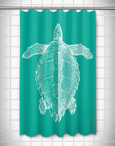 Vintage Large Sea Turtle Shower Curtain