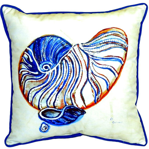 Blue Nautilus Shell Indoor-Outdoor Pillow