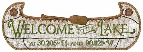 Birchbark Canoe Custom Latitude Sign