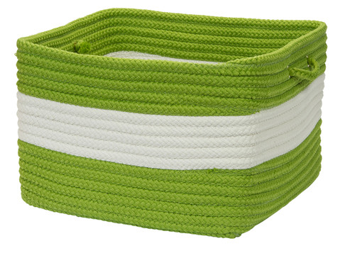 Rope Walk Bright Green Striped Basket