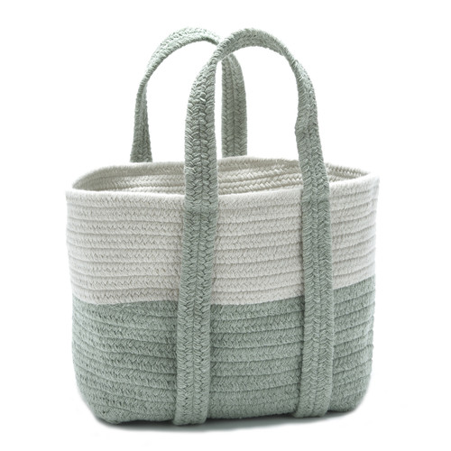 Coastal Moss Green Farmhouse Basket with Handles