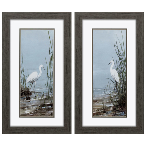 White Island Shoreline Egret Prints - Set of 2